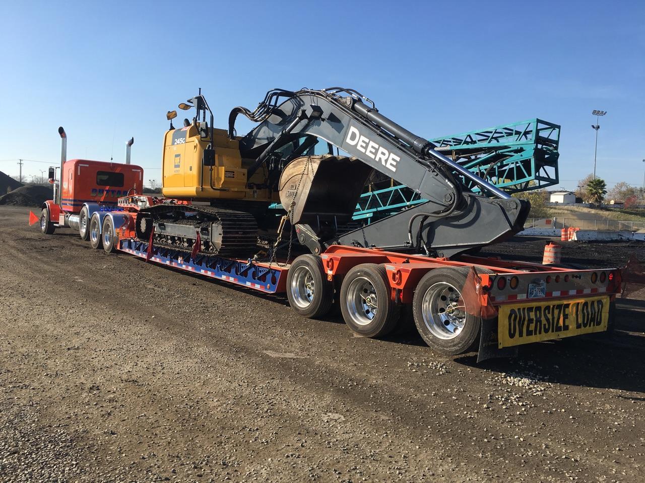 Deere Excavator on RGN trailer