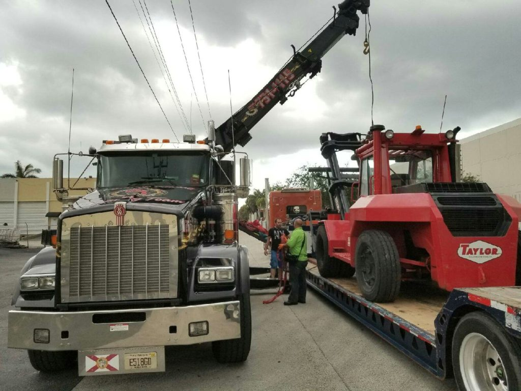 Loading Forklift on a Step Deck Trailer