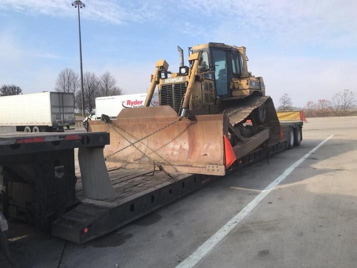 Oversize CAT Bulldozer on a trailer