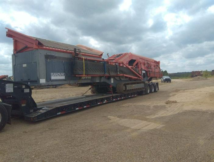Rough Terraine Crane being moved on an RGN