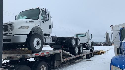 Truck stack hauling with two semi trucks