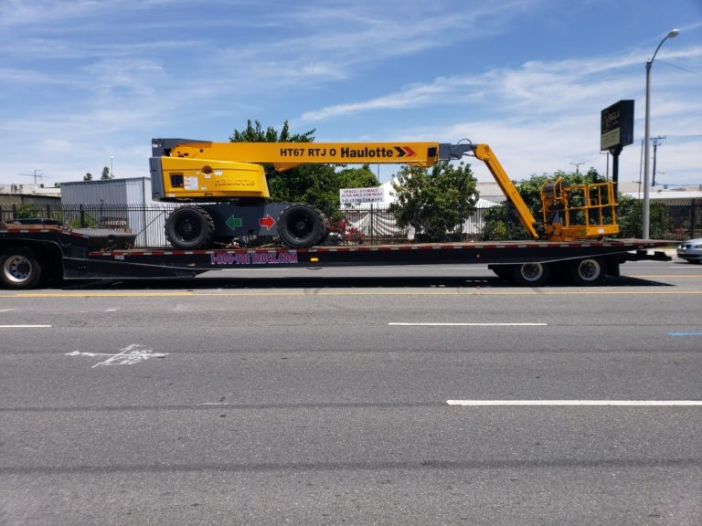 Boom Lift Transport on a Trailer
