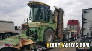 Shipping a  krone mower on an RGN trailer