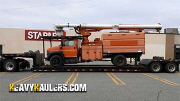 Hauling a forklift on a 5 axle trailer