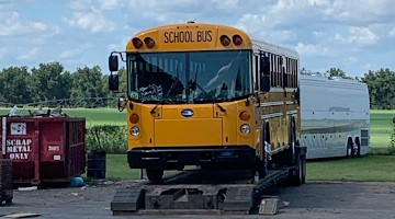 30k lbs Blue Bird Electric School Bus heavy hauled with permits