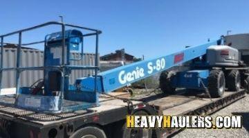 Transporting a Hitachi excavator
