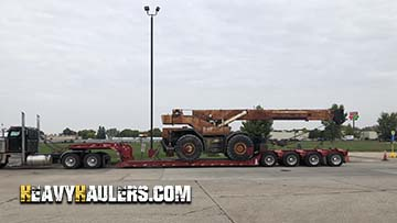 Transporting a rough terrain crane on an RGN trailer