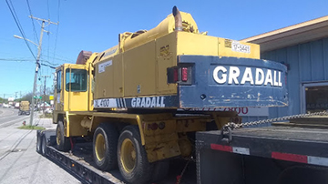 Gradall XL4100 Wheeled Excavator Transported on an RGN Trailer