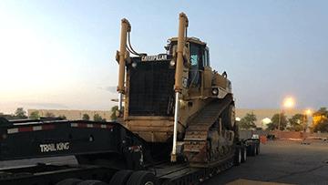 Transporting Caterpillar D9 Bulldozer