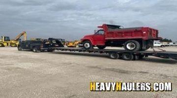 Dump truck being delivered