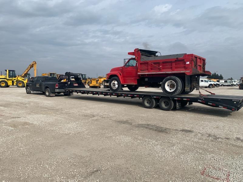 Hauling a dump truck
