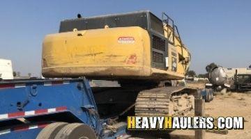 Transporting a Komatsu excavator
