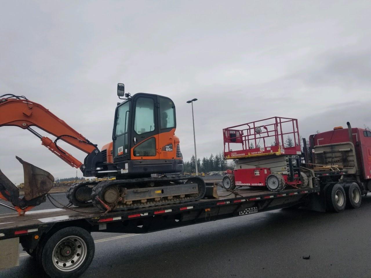 Hauling an excavator in Nebraska