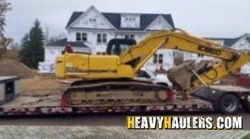 Transporting a Kobelco excavator