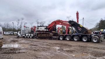Excavator transport in South Dakota
