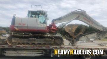 Transporting a Takeuchi excavator