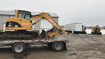 Shipping a Caterpillar 308C CR Midi Excavator in snow