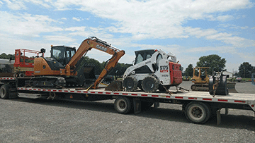 Transporting a Volvo EC150LC Hydraulic Excavator