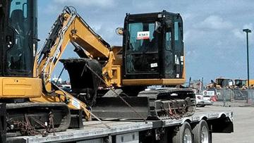 Transporting a Caterpillar 305ECR Midi Excavator