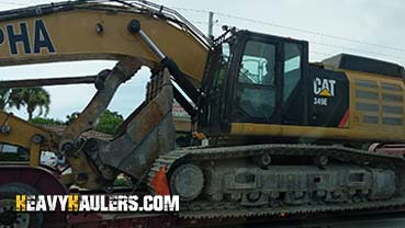Caterpillar 349E Excavator In Transport