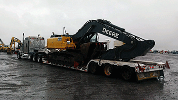 Transporting a John Deere 350G LC Hydraulic Excavator