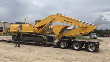Transporting a Komatsu PC 300LC Hydraulic Excavator