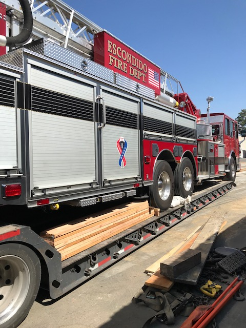 Fire Truck being Loaded onto trailer