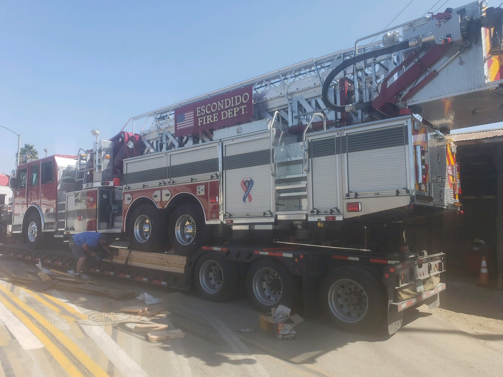 loading a fire truck before transport