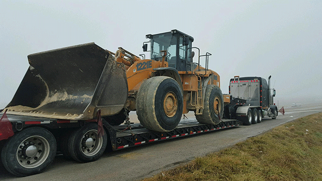 Case 1221E Wheel Loader in Transport