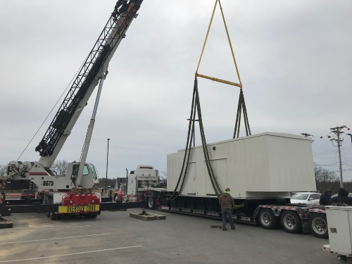 Crane lifting heavy load