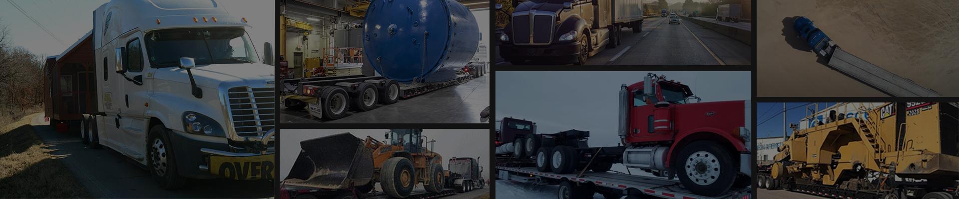Darkened background of transport photos combined
