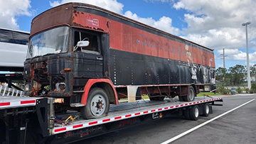 1982 MCI Bus transported on a hotshot trailer