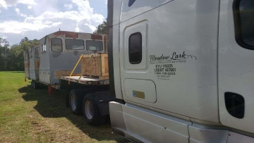 29,000lbs MRAP vehicle transported on an RGN Trailer