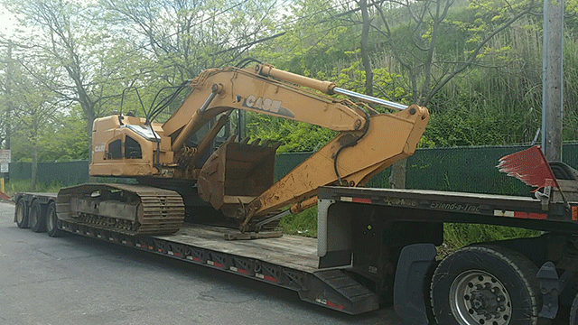 Case Excavator being Shipped