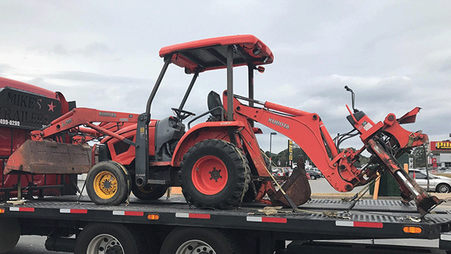 Kubota Backhoe being Hauled