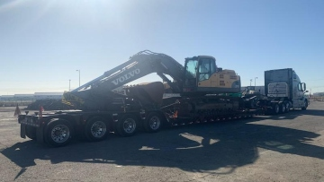 Volvo EC360 Transported On Trailer