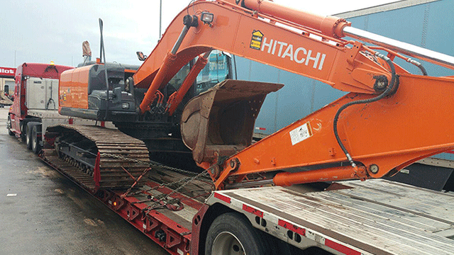Hitachi Excavator being Transported