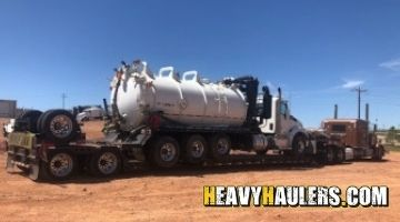 Transporting a Kenworth vacuum truck